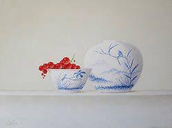 Chinees schaaltje met aardbeien | stilleven schilderij in olieverf van Ruud Verkerk | Exclusieve kunst online te koop in de webshop van Galerie Wildevuur