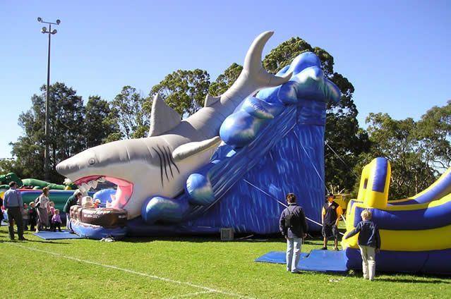 Whoaah! Party Professionals has landed the big one! This amazing giant shark slide features a 50′ Great White Shark. http://partyprofessionals.com/new-for-2013-party-rentals-az/giant-great-white-shark-slide/