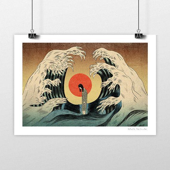 Tsunami © Patryk Mogilnicki. Ilustration art giclée signed print for sale.