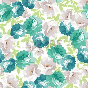 Vintage Fabric Seamless Floral Pattern With Blue Roses Illustration