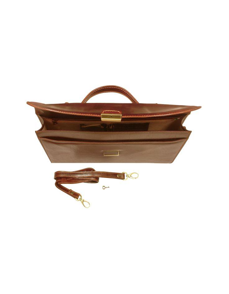 Chiarugi Herren-Aktentasche aus handgearbeitetem braunem Leder - FORZIERI