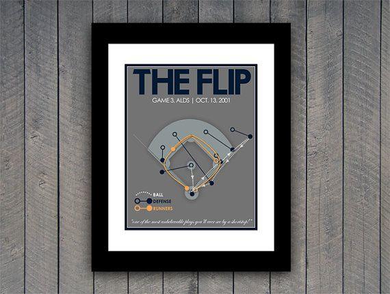 New York Yankees Baseball Print The Flip by JustABitOutside