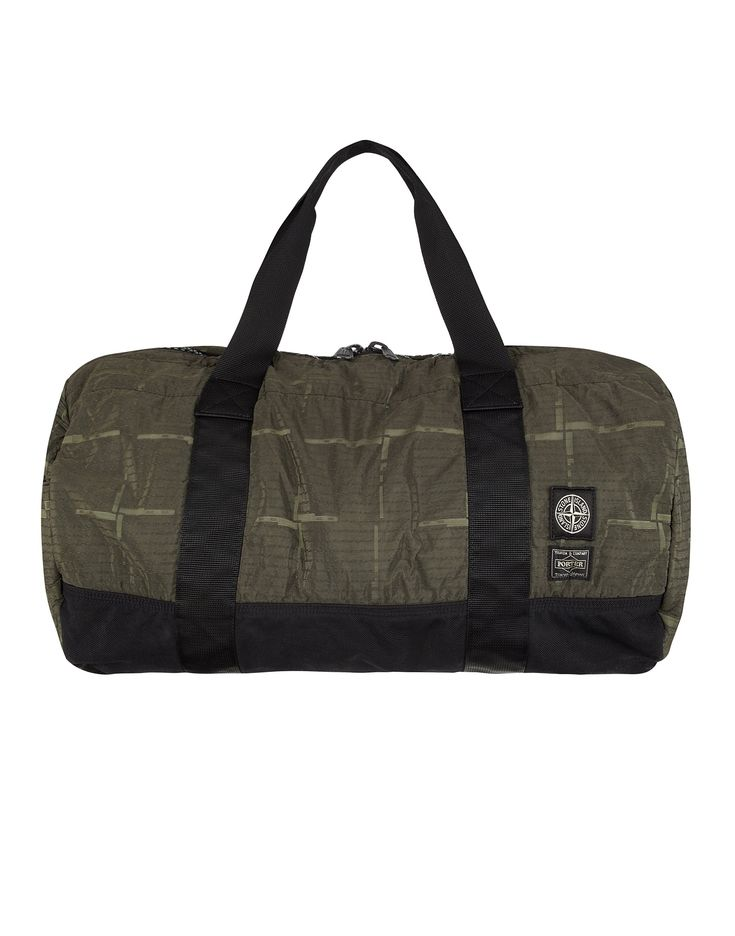 913P1 STONE ISLAND/PORTER HOUSE CHECK NYLON METAL Duffle Bag in Green
