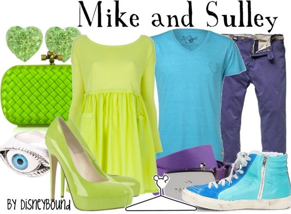 Enjoy your date night dressed as Mike and Sulley.  | Disney Fashion | Disney Fashion Outfits | Disney Outfits | Disney Outfits Ideas | Disneybound Outfits | Monsters Inc. Outfit | Mike Wazowski Outfit | Sulley Outfit |
