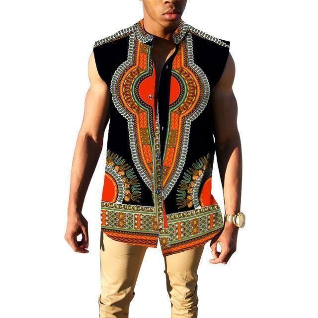 213df5d06c5 African Slim Fit Sleeveless Dashiki Casual Mens Shirts