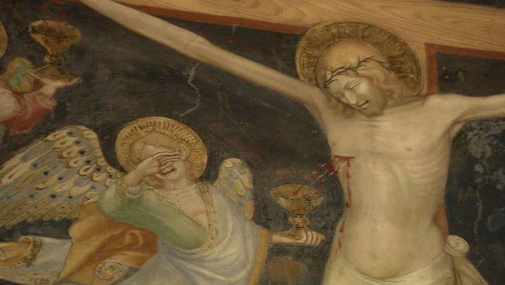 """Салимбени. """"РАСПЯТИЕ"""" (деталь). Плачущие ангелы, собирающие кровь Христа в чаши. Росписи оратория Иоанна Крестителя в Урбино, 1416 г."""