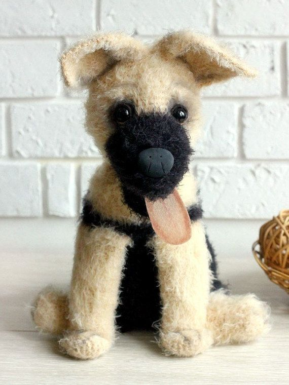 Plush dog Crochet Dog toy knitted puppy toy stuffed dog