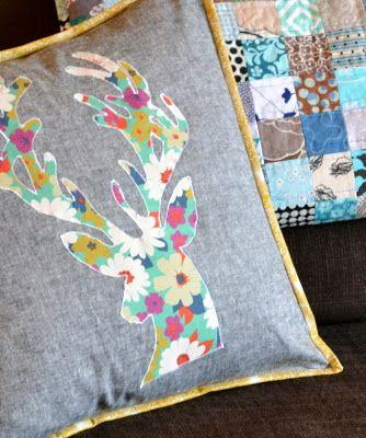 Deer pillow - like the flower pattern fabric on denim.