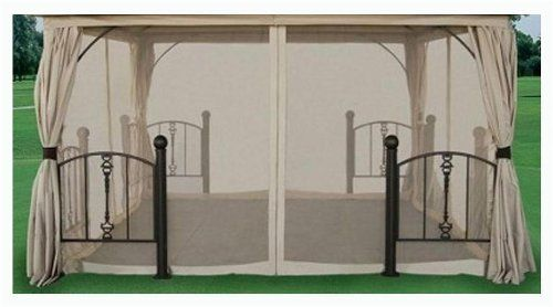 Rome Post Gazebo Replacement Privacy/Wind Shade by DC America. $98.63. Polyester weighs 180 g./sq. m.. 1-Year warranty on manufacturing defects. 12 ft. L x 12 ft. H (11 lbs.). Assembly required. Pictured in Beige with Beige trim. Gazebo privacy screen is made of polyester in beige finish and includes full-length zippered panels and tie-back curtains. Polyester weighs 180 g./sq. m. . Pictured in Beige with Beige trim . Assembly required . 1-Year warranty on manufacturing defect...