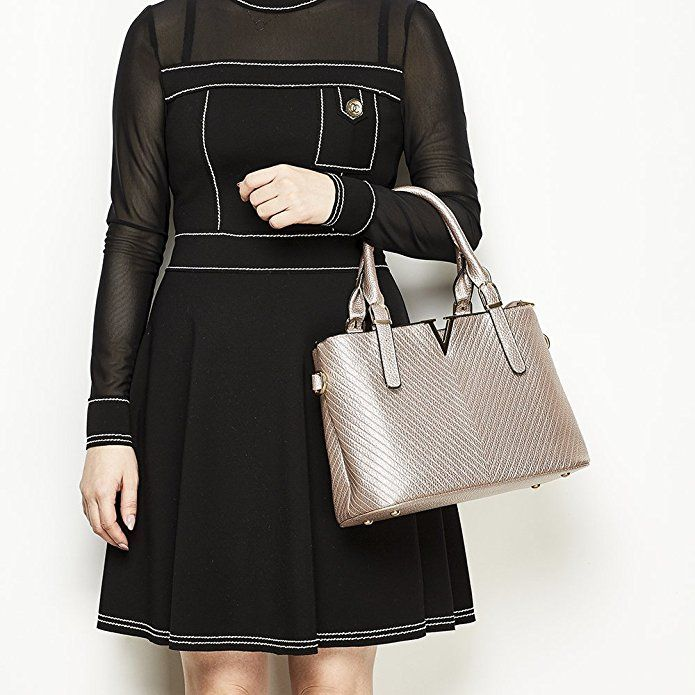 Celaine Womens Handbags V Series PU Leather Shoulder Satchel Bag - Gold Buckles and Zipper, Champagne Gold: Handbags: Amazon.com
