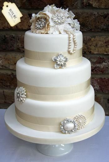 Gatsby Inspired.  Scaled down would be perfect for Wedding Shower Cake ~ This awesome project brought to you by:      Bite Me Bakery   Kings Langley, England