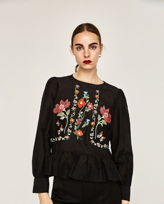 Image 2 of FLORAL EMBROIDERED BLOUSE from Zara