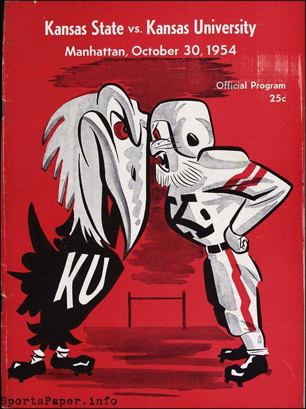 College Football Game Program: Kansas State Wildcats vs. Kansas Jayhawks (October 30, 1954)