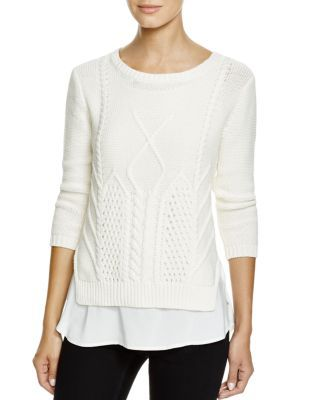 Avec Cable-Knit Layer Sweater | Bloomingdale's