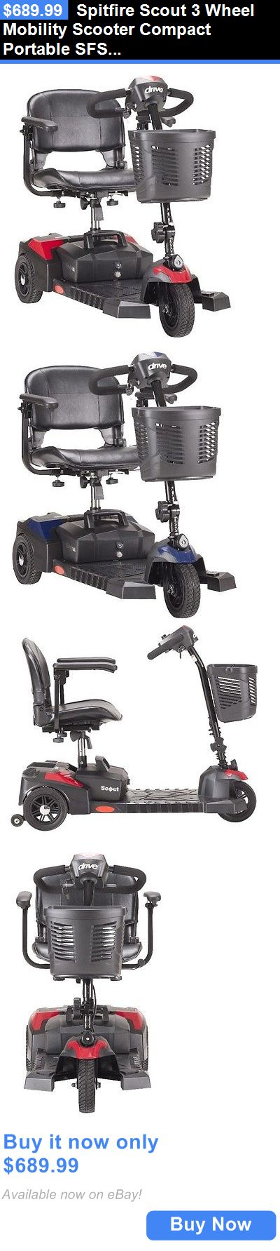 Mobility Scooters: Spitfire Scout 3 Wheel Mobility Scooter Compact Portable Sfscout3 Drive Medical BUY IT NOW ONLY: $689.99