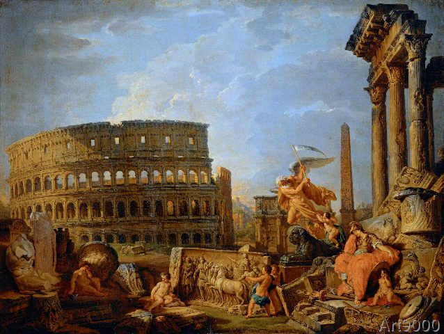 Giovanni Paolo Pannini or Panini - Ruinous landscape with Colosseum, Arch of Constantine and allegory of the fall of the Roman Empire