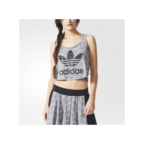adidas Shell Cropped Tank Top ($30) ❤ liked on Polyvore featuring tops, white, white singlet, crop tank, shell tops, adidas singlet and all over print tank top
