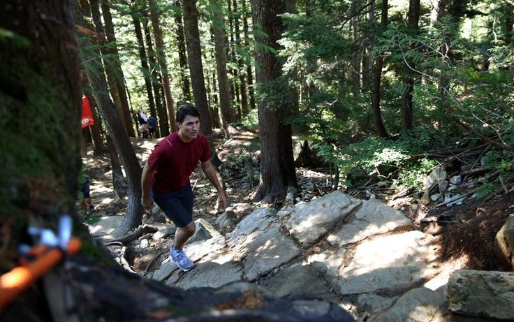 Justin Trudeau climbs Grouse Mountain Grind, North Vancouver, BC, Sept. 11, 2015.  With the federal election just five weeks ahead, it was only natural that Liberal Party leader Justin Trudeau would take his campaign to the top of Grouse Mountain. To be more specific, on the gruelling Grouse Grind trail.