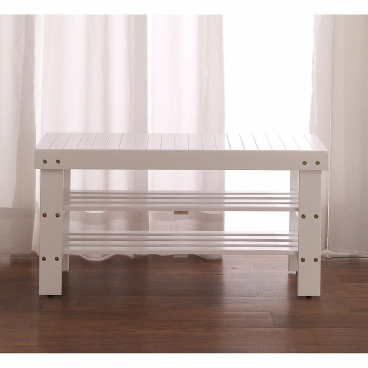 FurnitureMaxx White Finish Quality Solid Wood Shoe Bench