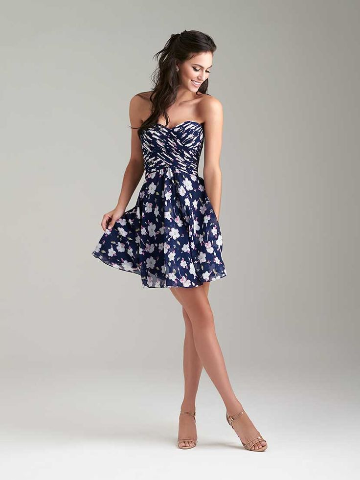 This bridesmaids dress is floral, short and super sweet. @weddingwire
