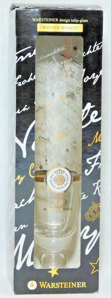 Warsteiner Christmas Design 2010 Tulip Glass Winter Wishes Champagne Beer LE #Warsteiner