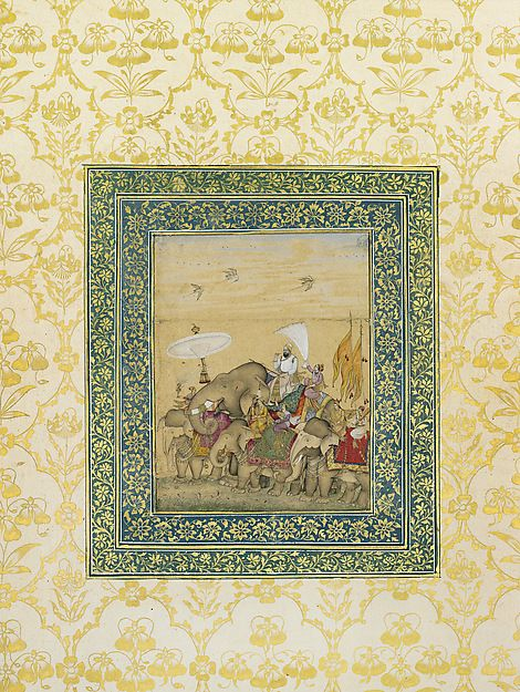 Sultan Ibrahim 'Adil Shah II in Procession Artist: School of 'Ali Riza Object Name: Album leaf, illustrated Date: Early 17th century Geography: India, Deccan, Bijapur Culture: Islamic Medium: Opaque watercolor and gold on paper Dimensions: Frame: 27 3/8 × 20 1/16 × 1 3/16 in. (69.5 × 51 × 3 cm) Image: 5 5/16 × 4 1/8 in. (13.5 × 10.5 cm) Classification: Codices Credit Line: The Ashmolean Museum, Oxford. Lent by Howard Hodgkin.