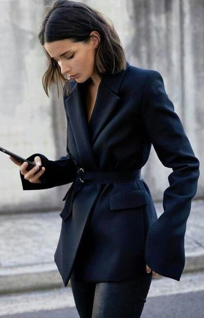 belted navy blazer