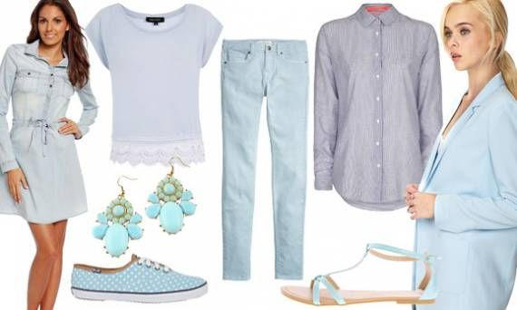 Look for Less: lovely in lightblue. 8 Affordable styles from €4,06 - €36,95 -->   http://www.missbudget.nl/look-for-less/item/448-look-for-less-trend-2014-betaalbare-kleding-schoenen-accessoires-lichtblauw