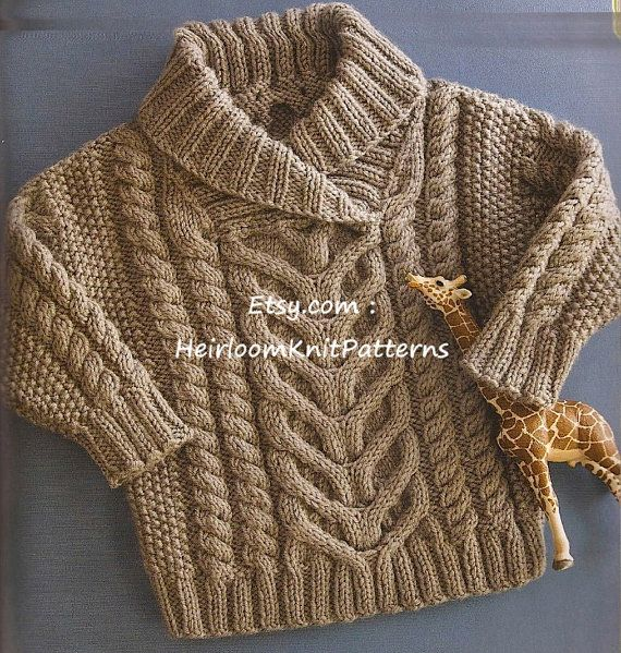 Baby/ Toddlers Stunning Fishermans Pullover/ Cable Sweater to knit in DK/ 8ply weight yarn. A timeless design with multiple cables & shawl