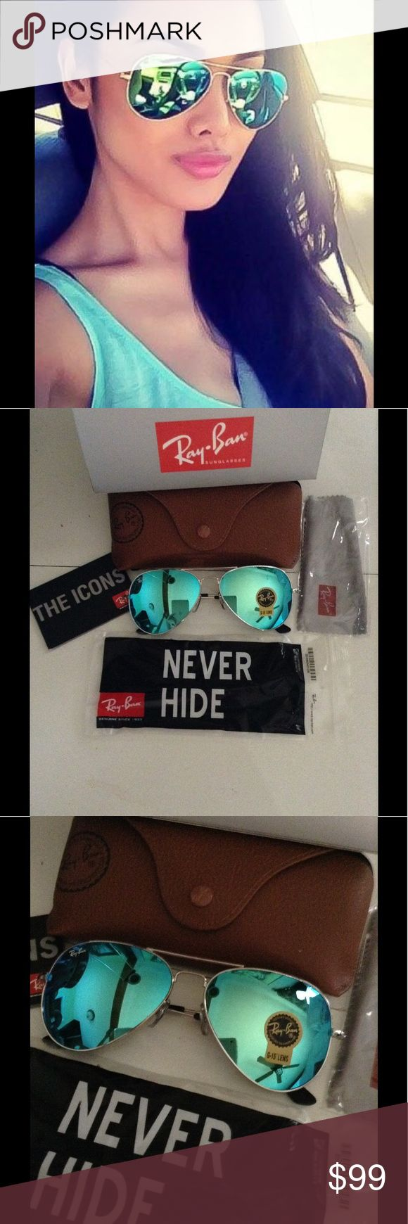🌺💥Ray Ban sunglasses Aviator Blue / silver FRM NWT Ray Ban Sunglasses RB3025.                        Blue flash / mirror lens with SILVER frame             You will receive everything you see in photos. Ray Ban box , Ray Ban Cleaning Cloth , Ray Ban Sunglasses, Ray Ban ICON booklet !   Check out my reviews !! Buy with confidence Ray-Ban Accessories Sunglasses