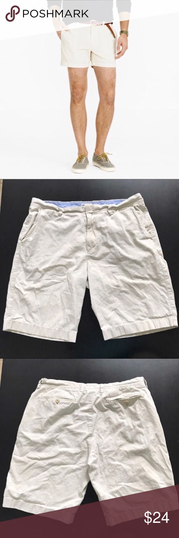 """J. Crew khaki beige preppy men's shorts size 36 Like it or not, khakis are a classic staple in the preppy wardrobe. Can be paired with polo shirts and/or cable knit sweaters. Even a classic button down. Dress up as a preppy guy for Halloween   👕Waist 36"""" 👕Rise 11.5"""" 👕Inseam 10"""" J. Crew Factory Shorts"""