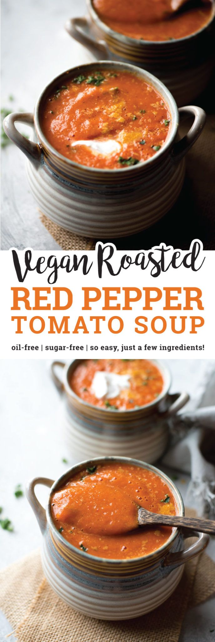 After roasting the red peppers, this vegan Roasted Red Pepper Tomato Soup comes together in minutes in the blender. No need to cook it in a pot! It's loaded with flavour, high in protein and fibre, virtually fat-free and a good source of vitamins and minerals. via @runonrealfood