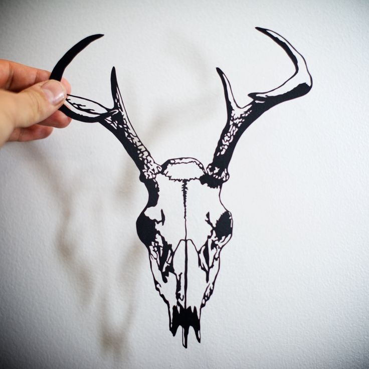 Deer Skull, hand-cut paper by ChNNLampshade on Etsy