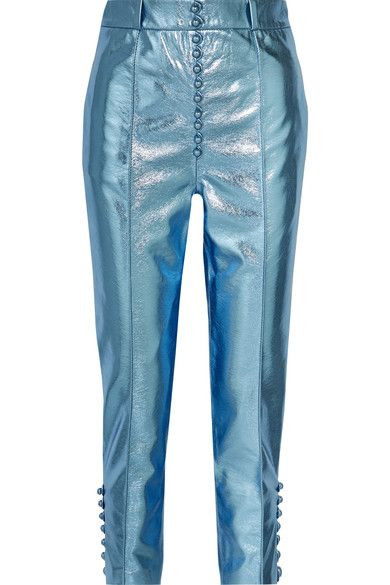 Metallic light-blue faux textured-leather Concealed zip fastening along side 60% viscose, 40% polyurethane; lining: 100% viscose Dry clean Made in EnglandAs seen in The EDIT magazine