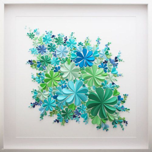 Floating Blossoms, Sea Glass - Unique 3D paper artwork created from hand-cut hearts, folded and arranged in a floating blossom design.