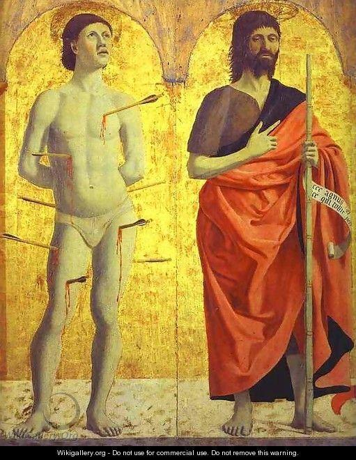 Piero della Francesca  (1420-1492), San Sebastiano e San Giovanni Battista,  Polittico della Misericordia, Museo Civico di Sansepolcro