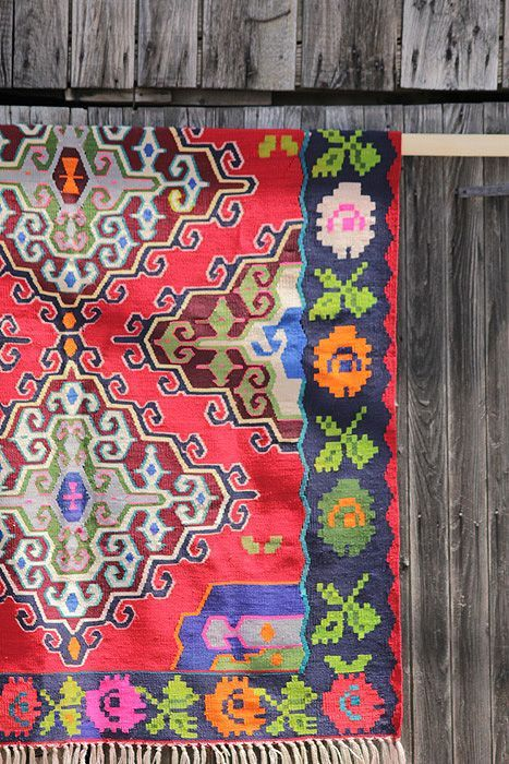 Vintage kelim rug in bright colors