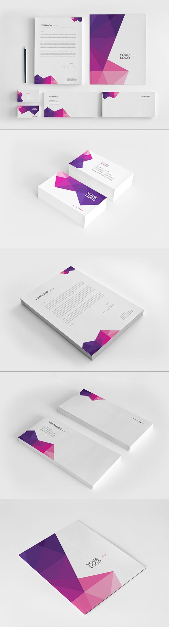 Clean Pink Pattern Stationery. Download here: http://graphicriver.net/item/clean-pink-pattern-stationery/12249044?ref=abradesign