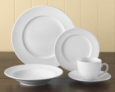 Brasserie All-White Dinnerware Place Settings #williamssonoma. Clean and simple. These are what I want in my kitchen someday.