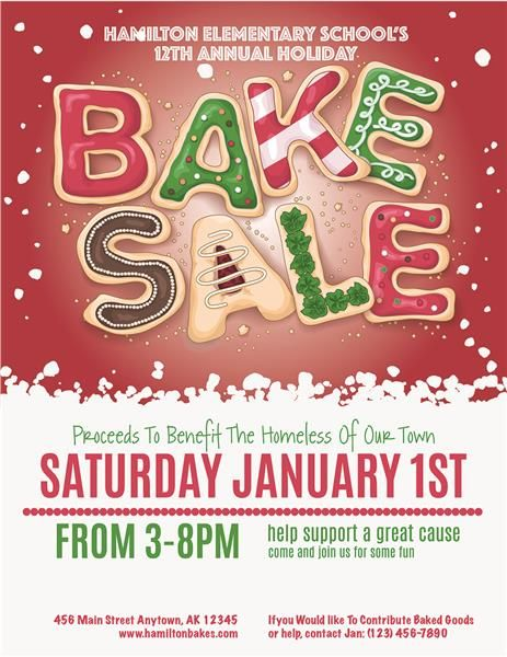 Red Christmas Bake Sale Invitations Christmas December 25