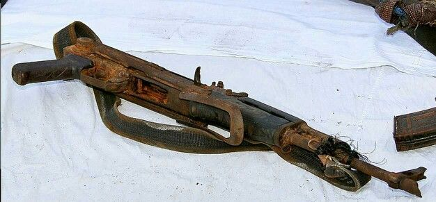 The legendary reliability of the AK. Taken from Somali Pirates. Rusty but still fully functional.  (From Reddit)