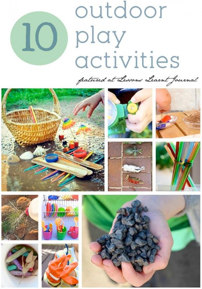 10 outdoor play activities for kids. (Love the gardening and mud play).