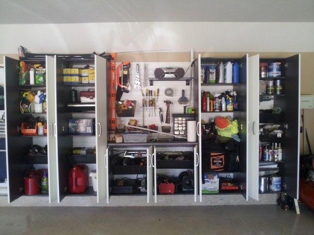 captivating classic garage and shed with efficient modern garage cabinets sleek concrete floor tough metallic