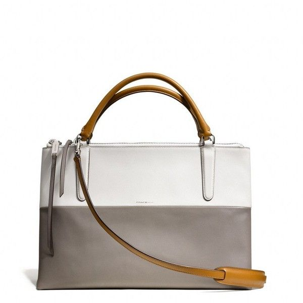 Coach The Borough Bag In Retro Colorblock Leather ($598) ❤ liked on Polyvore featuring bags, handbags, tan handbags, man bag, retro purse, coach purses and leather hand bags
