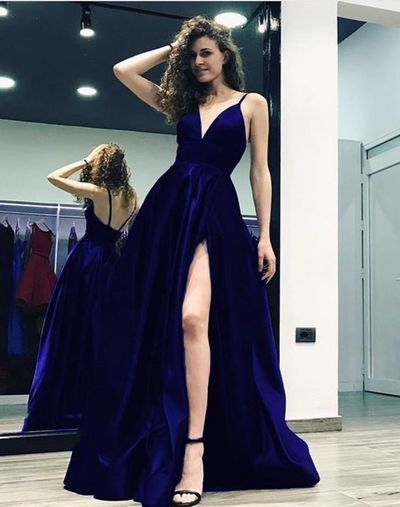 A-line Spaghetti straps Satin Gowns With Plunge V-neckline Prom Dress , CR 387