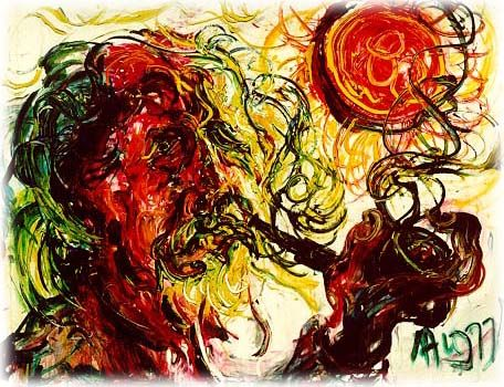 Affandi is Indonesian famous painter,1907-1990 with expresionist style and romantism.  This painting called 'Affandi potret diri menghisap pipa'(self portrait pipes suck)-1977
