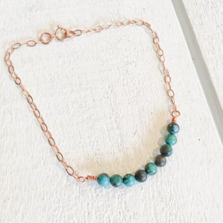 Turquoise Bead Bracelet with Rose Gold - click/tap to personalize and buy