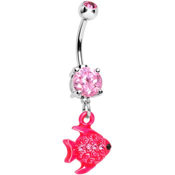 Pink Gem Neon Angel Fish Dangle Belly Ring | Body Candy Body Jewelry