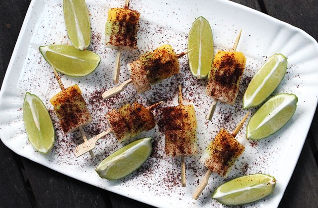Jicama, Cucumber, Mango Skewers with Chile and Lime by kitchenkonfience #Starters #Jicama #Mango