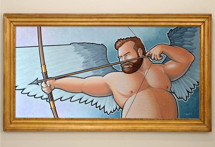 """Cupid at work"" acrylics on canvas  120x60 cm"